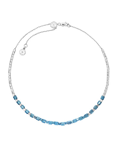 Ocean Blue Nugget Beaded Necklace