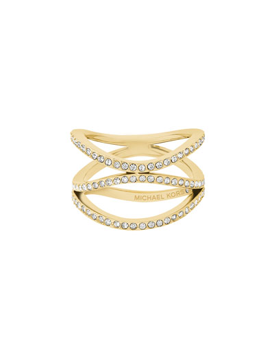 Wanderlust Pavé Crystal Ring, Yellow Golden