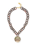Gray Mother-of-Pearl Disc Necklace