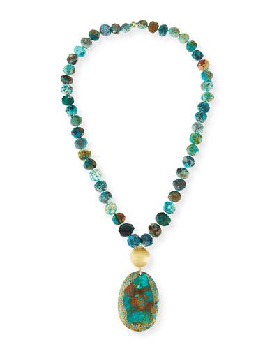 Beaded Chrysocolla & Turquoise Pendant Necklace