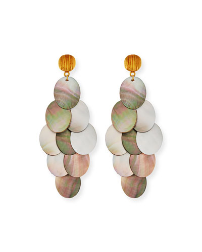 Mother-of-Pearl Cluster Drop Earrings