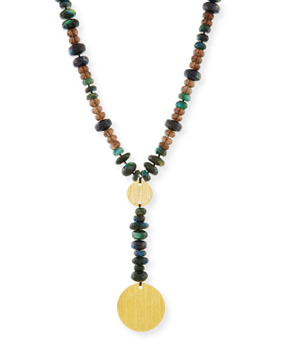 Beaded Y-Drop Medallion Necklace
