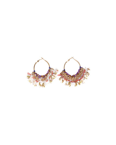 Mary Fringed Hoop Earrings, Khaki