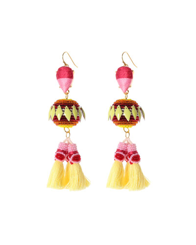 Rayna Beaded Tassel Drop Earrings, Pink