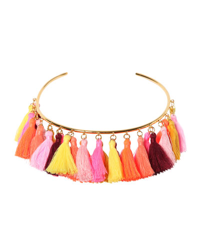 Lily Tassel Collar Necklace, Pink/Orange