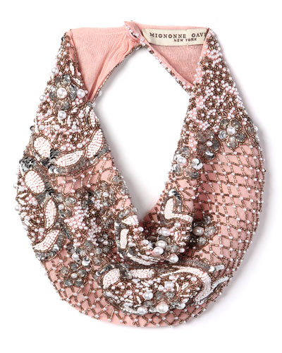Le Charlot Beaded Scarf Necklace, Pink