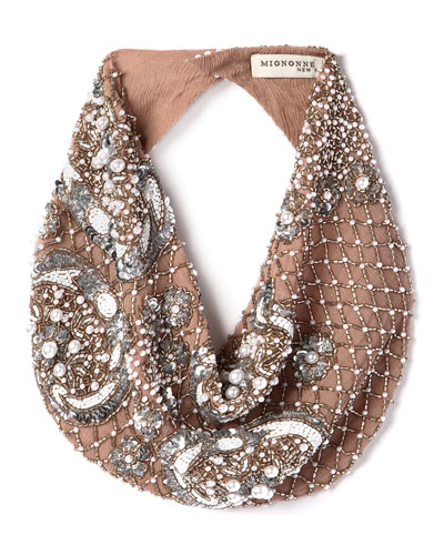 Le Charlot Beaded Scarf Necklace, Nude