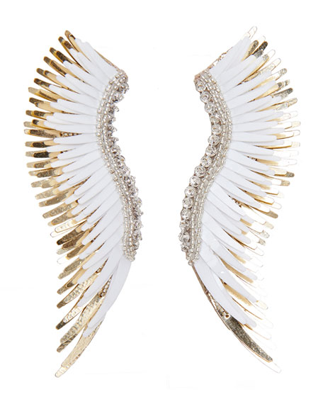 Mignonne Gavigan Madeline Beaded Statement Earrings, White/Golden