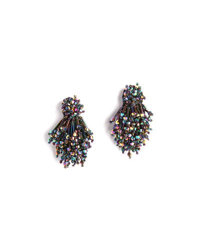 Burst Beaded Statement Earrings, Black Pattern