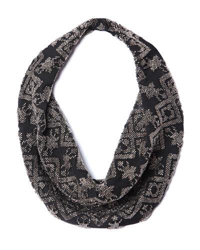 Dakota Silk Chiffon Scarf Necklace, Black Pattern