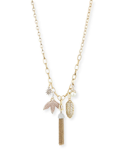 Long Pearly Mixed-Charm Chain Necklace