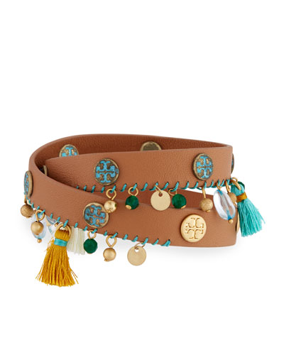 Tassel Double-Wrap Leather Bracelet