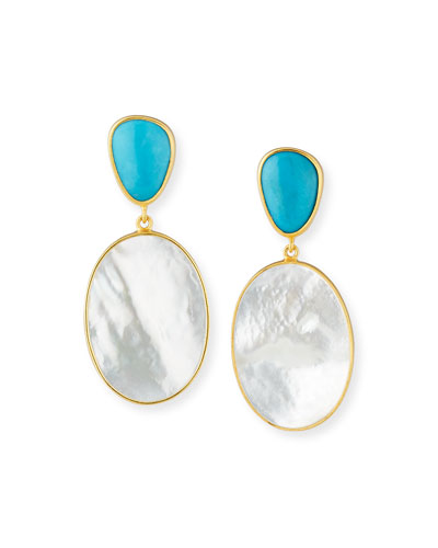 Turquoise & Mother-of-Pearl Double-Drop Earrings