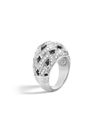 Classic Chain 15mm Dome Ring with Diamonds