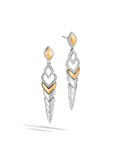 Legends Naga 18K Gold & Silver Diamond Long Drop Earrings