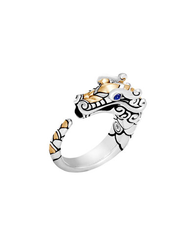 Legends Naga 18K Gold & Silver Ring with Blue Sapphire Eyes