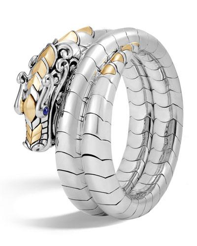 Legends Naga 18K Gold & Silver Double Coil Bracelet with Blue Sapphire Eyes