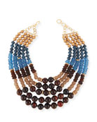 Five-Strand Beaded Necklace, Blue/Brown