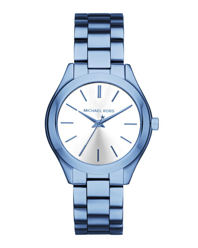 33mm Mini Slim Runway Blue IP Watch