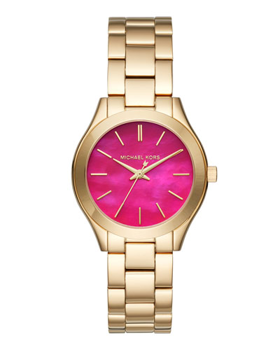 33mm Mini Slim Runway Bracelet Watch in Pink/Golden