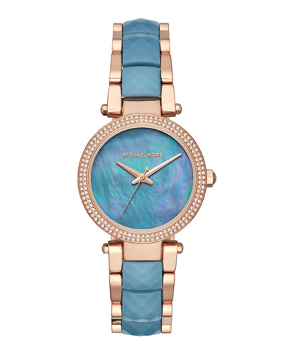33mm Parker Bracelet Watch, Rose Golden/Ocean Blue