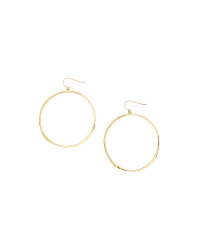 G Ring Hoop Drop Earrings, Gold