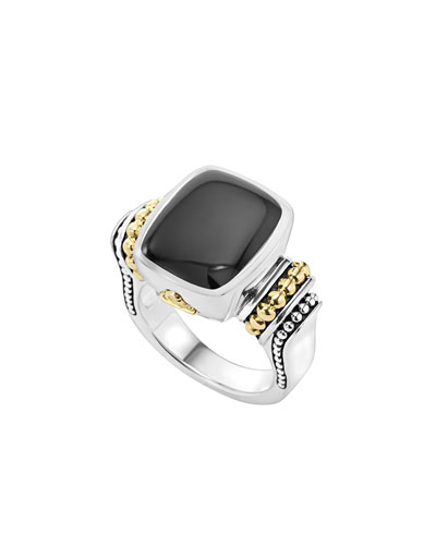 Caviar Color Onyx Ring, Size 7