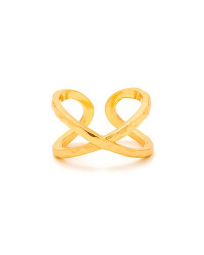 Elea Crisscross Ring, Gold, Size 8