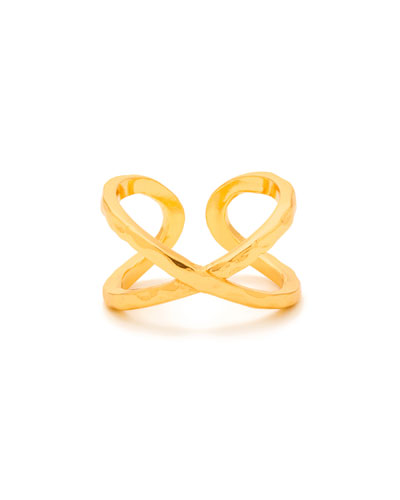 Elea Crisscross Ring, Gold, Size 7
