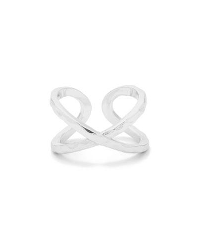 Elea Crisscross Ring, Silver, Size 7