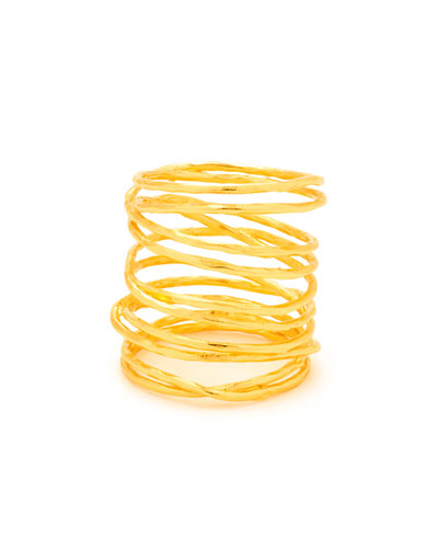 Lola Tall Multi-Band Ring, Gold, Size 8