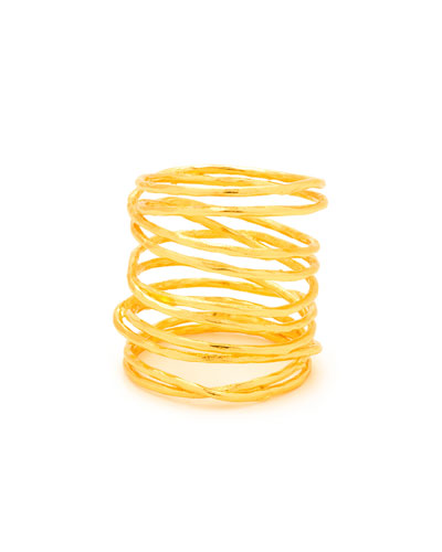 Lola Tall Multi-Band Ring, Gold, Size 6