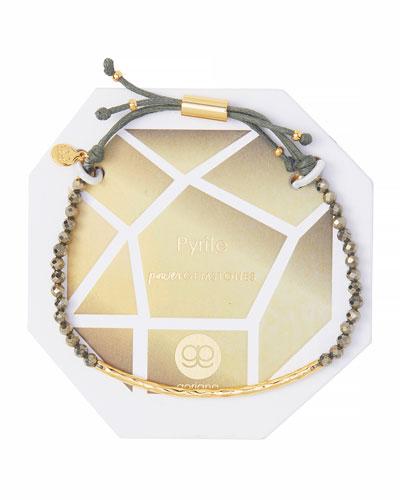 Power Gemstone Pyrite Bracelet for Strength, Gold