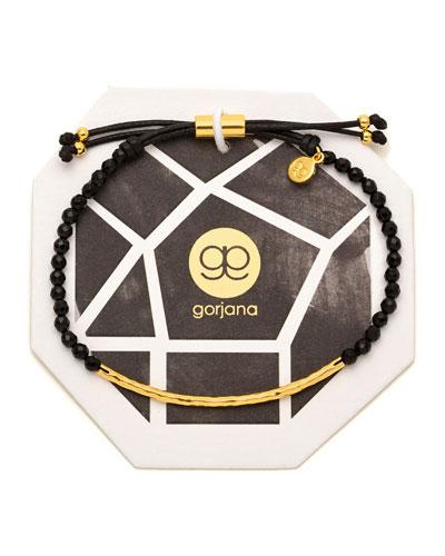 Power Gemstone Black Onyx Bracelet for Protection, Gold