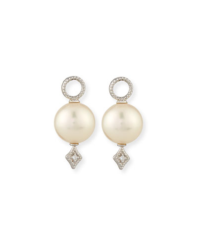 Lisse Large Pearl & Diamond Earring Charms, White Gold