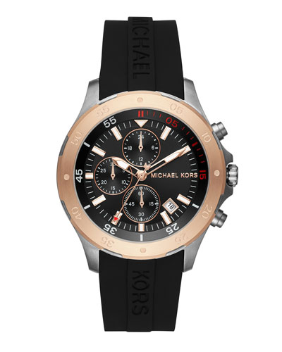 Men's 44mm Walsh Chronograph Watch, Black/Rose Golden
