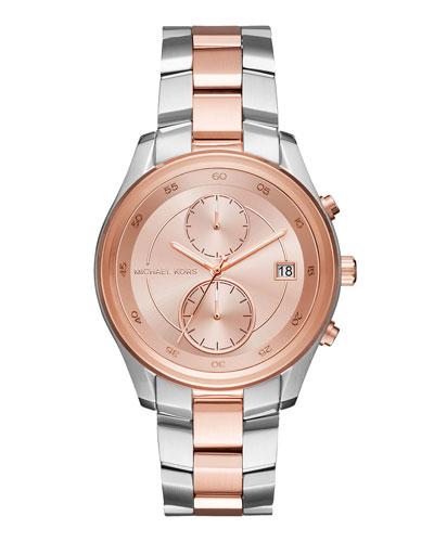 40mm Briar Two-Tone Bracelet Watch, Rose Golden/Silvertone