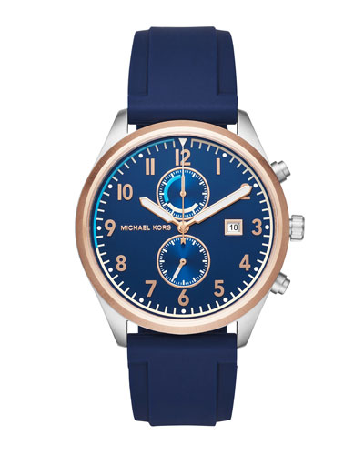 Men's 43mm Saunder Chronograph Watch, Navy/Rose Golden