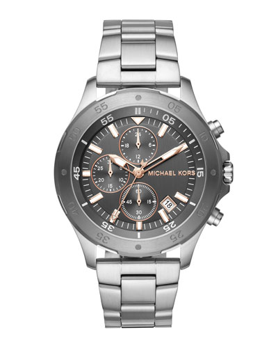 Men's 44mm Walsh Chronograph Bracelet Watch, Gray/Silvertone