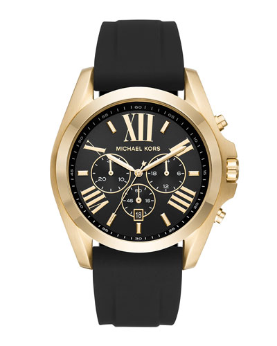 47mm Bradshaw Chronograph Watch w/ Silicone Strap, Yellow-Golden/Black