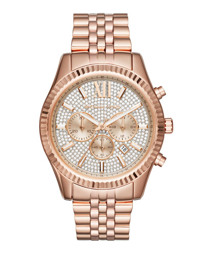44mm Lexington Chronograph Glitz Bracelet Watch, Rose Golden