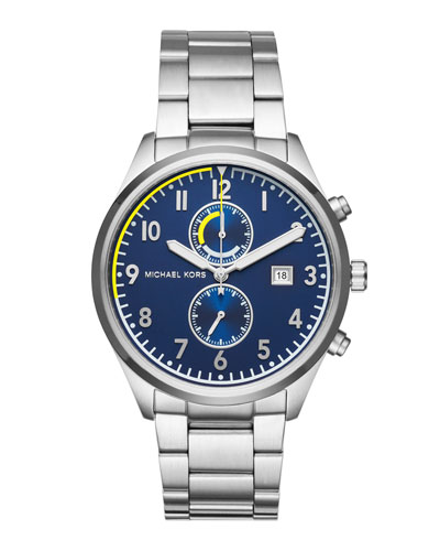 Men's 43mm Saunder Chronograph Watch, Navy/Silvertone