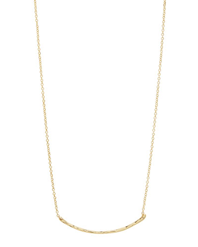 Taner Small Hammered Golden Bar Necklace