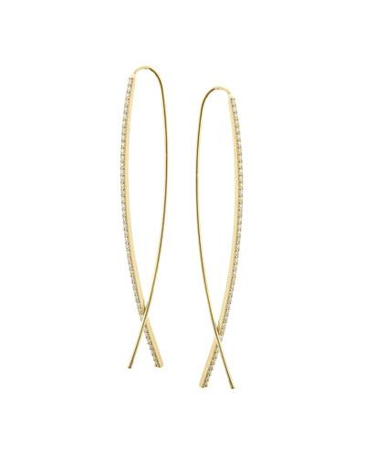 Small Flawless Narrow Upside Down Hoop Earrings with Diamonds