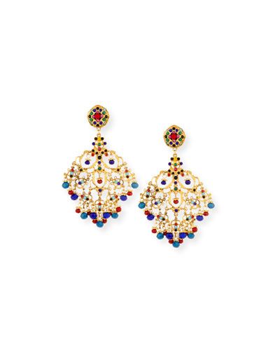 Beaded Filigree Chandelier Clip-On Earrings