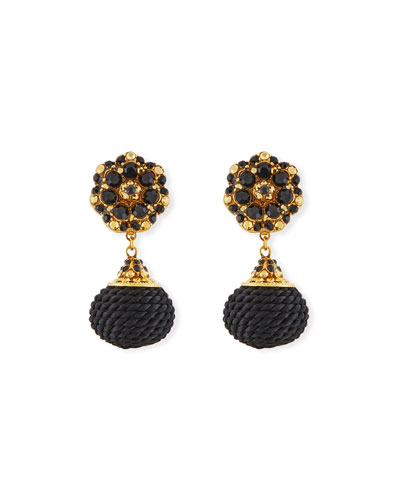 Jet Black Beaded Double-Drop Clip-On Earrings