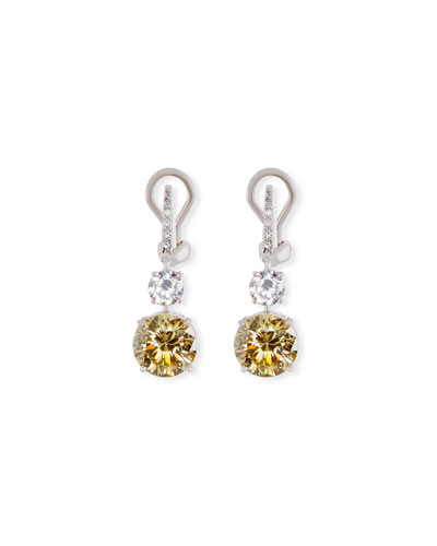 Canary CZ Round Drop Earrings