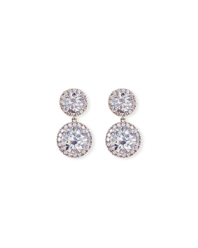 Round CZ Halo Double-Drop Earrings