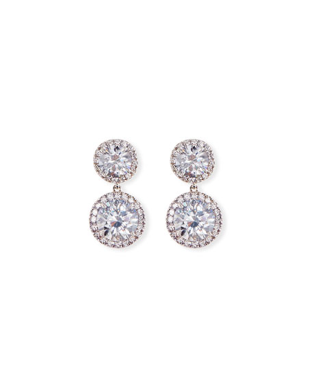 Fantasia by DeSerio Round CZ Halo Double-Drop Earrings