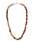 Long Glass Metallic Necklace